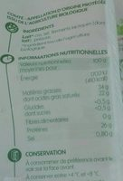 Comté - Informations nutritionnelles - fr