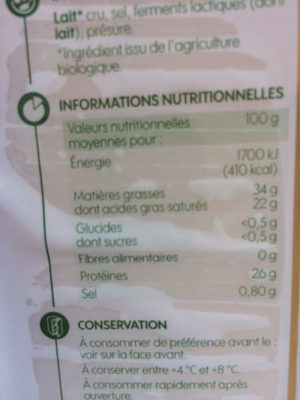 Comté au lait cru - Informations nutritionnelles - fr