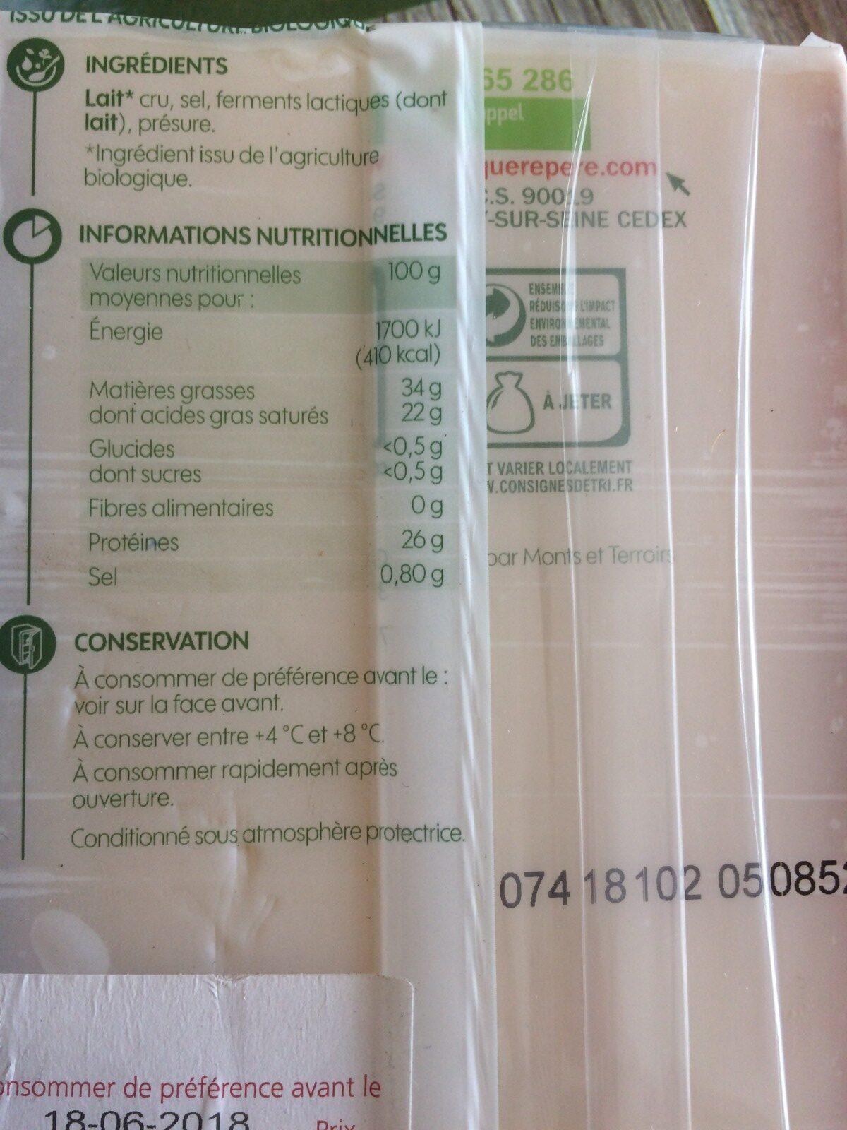 Bio village compté au lait cru - Ingrédients - fr