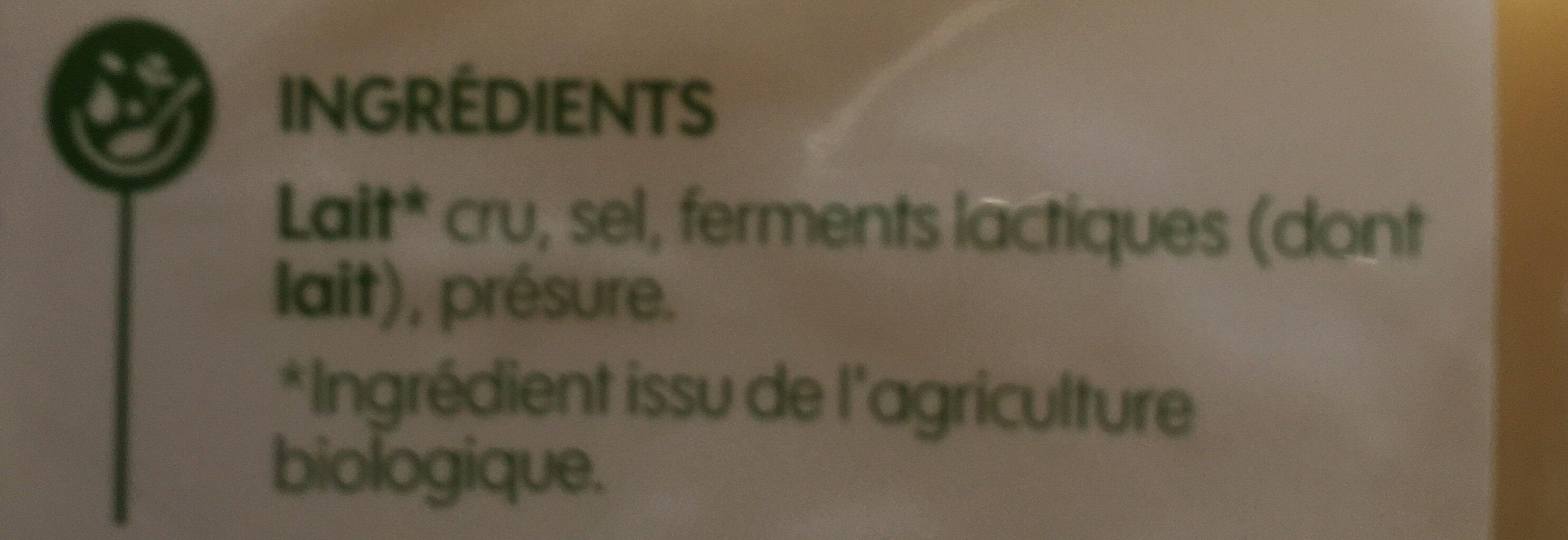 Comté Bio - Ingrédients - fr