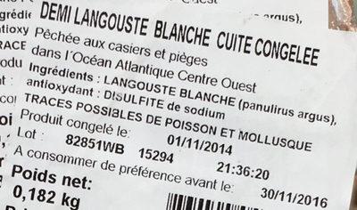 Demi langouste blanche cuite congelée - Ingredients - fr