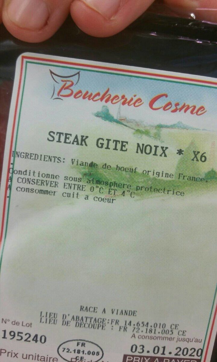 Steak Gite Noix x6 - Informations nutritionnelles