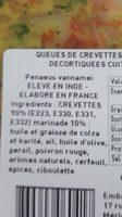 QUEUES DE CREVETTES PARTIELLEMENT DÉCORTIQUÉES CUITES MARINÉES - Ingrediënten