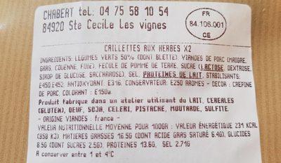 Caillettes aux herbes - Ingrediënten - fr