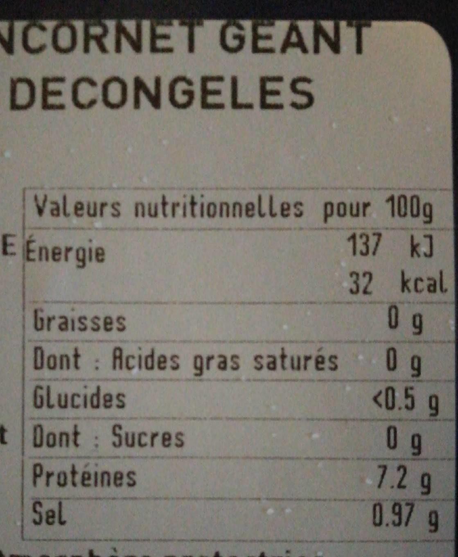 Anneaux d'encornets geant saumures décongelés - Voedingswaarden