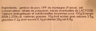 Jambon sec VPF de montagne - Ingrédients