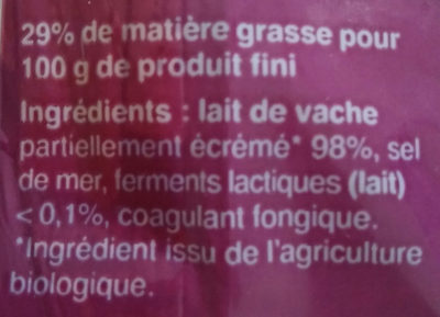 Emmental biologique Français - Ingrediënten - fr