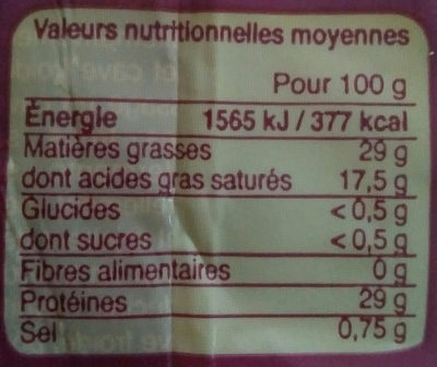 Emmental biologique Français - Voedingswaarden - fr