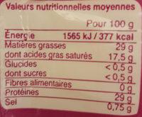 Emmental français - Valori nutrizionali - fr