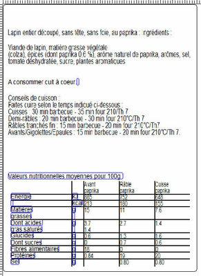 Lapin entier découpé sans foie au paprika : 2 demi-avants, 3 râbles découpés, 2 cuisses - Nutrition facts