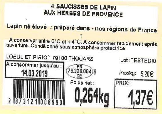 4 Saucisses de lapin aux herbes de Provence - Ingredients