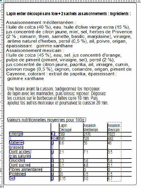 Lapin entier découpé sans foie + 2 assaisonnements - Nutrition facts
