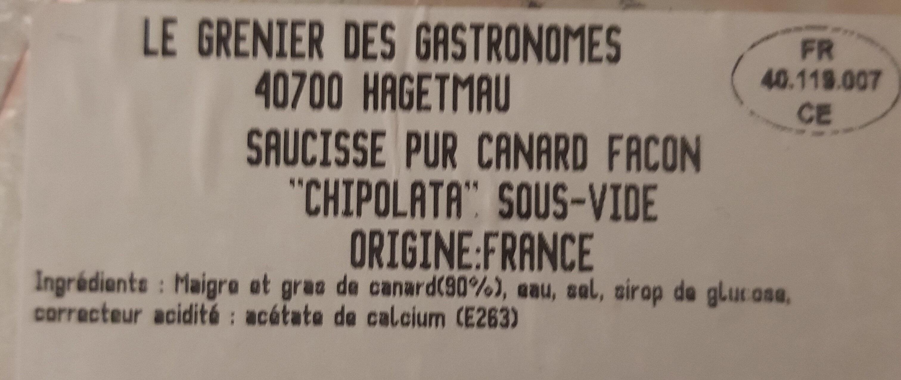 Saucisses pur Canard - Ingrédients
