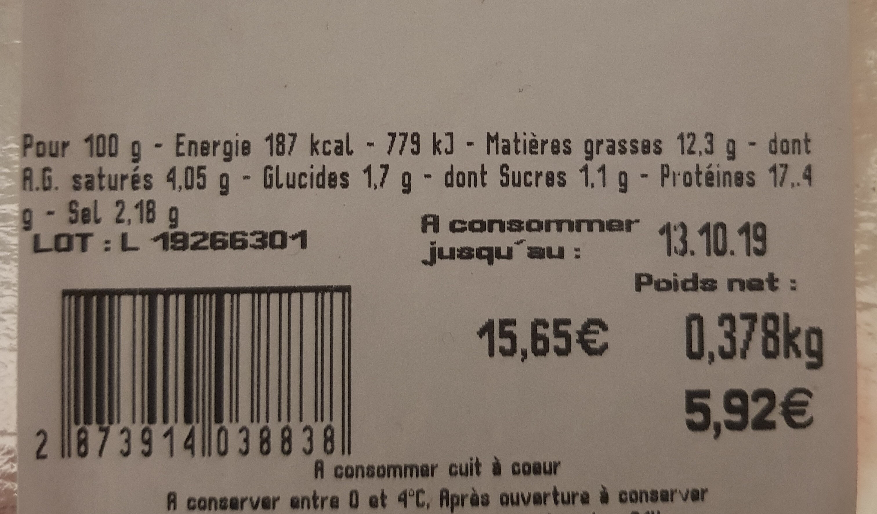 Saucisses pur Canard - Informations nutritionnelles