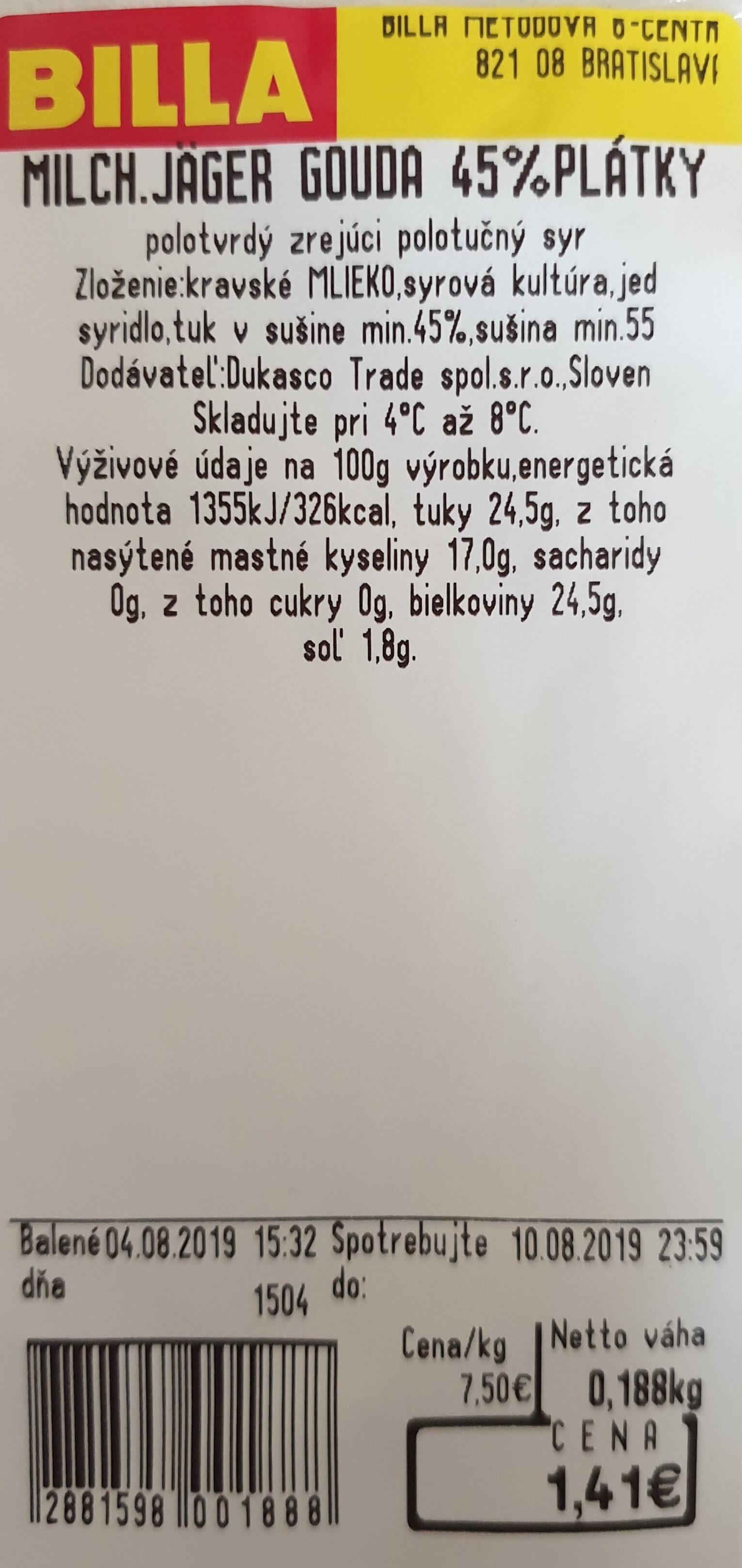 Milch.Jäger Gouda 45%plátky - Product - sk