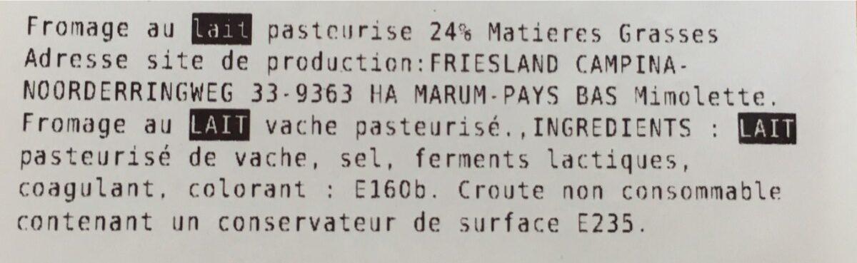 Mimolette Jeune Boule 24% MG - Ingredients