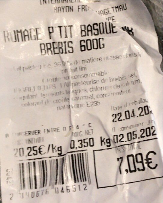 Petit Basque Pur Brebis - Voedingswaarden - fr