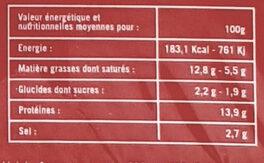 Bacon de dinde - Informations nutritionnelles - fr