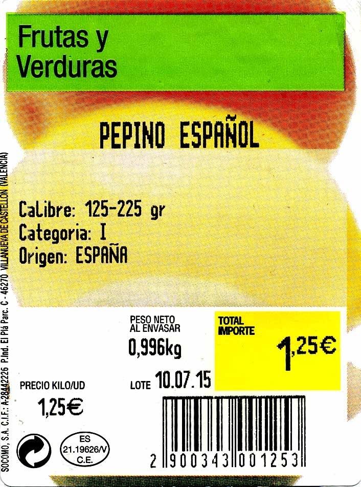 Pepinos tipo español - Ingredientes