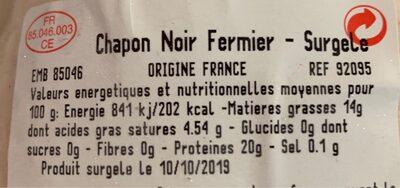 Chapon noir fermier - Voedingswaarden - fr