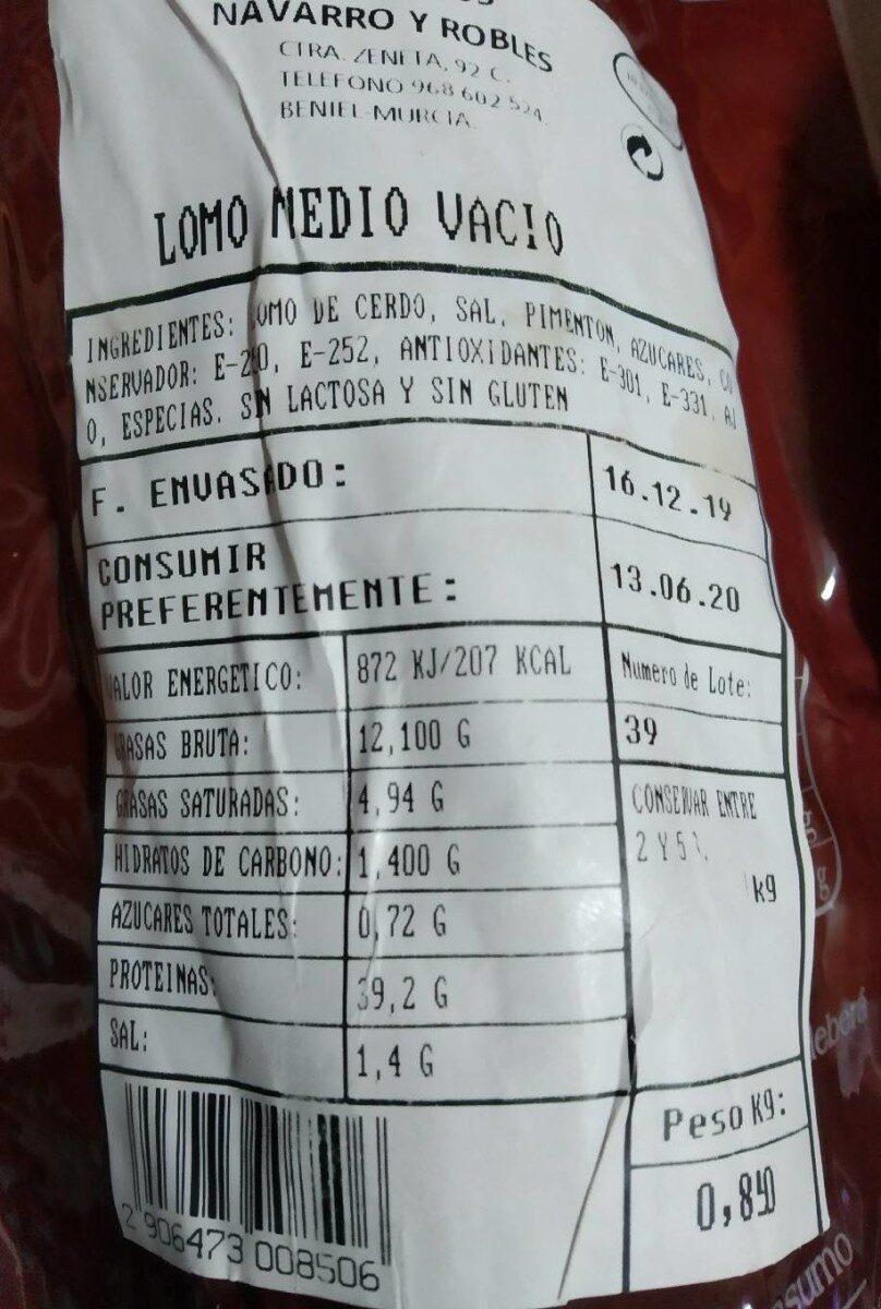 Lomo de cerdo - Informació nutricional - es