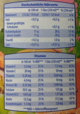 Multivitaminsaft - Nutrition facts
