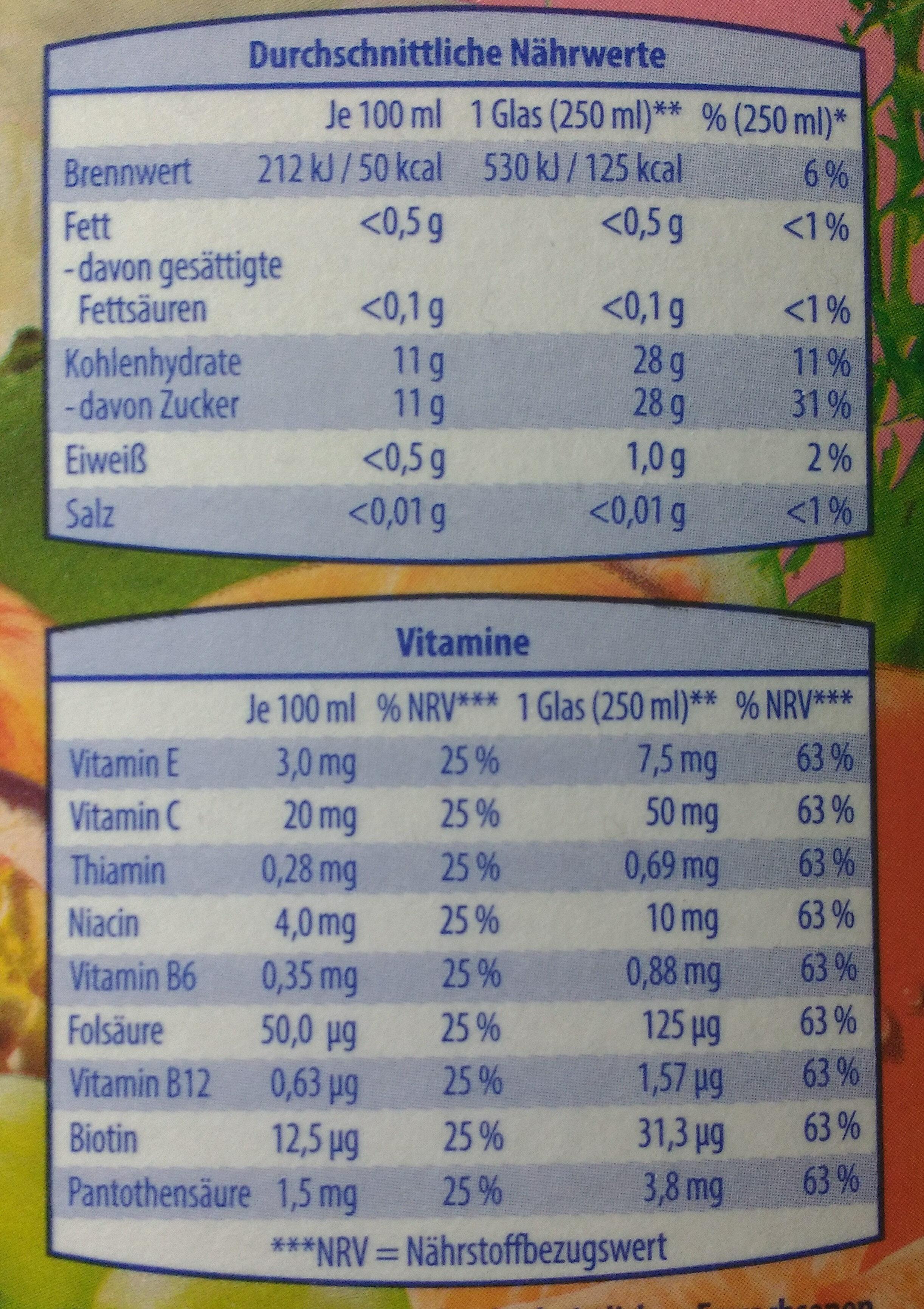 Multifruchtsaft - Nutrition facts - de