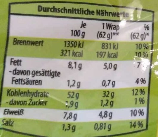 6 Wraps Mehrkorn mit Leinsamen - Nutrition facts