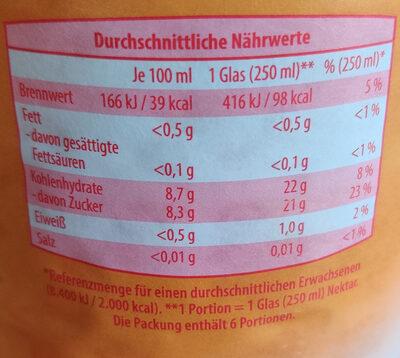 Frucht Oase Orangen Nektar - Voedingswaarden