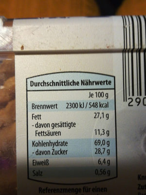 Tee Runde Akt holländisches Gebäck - Nährwertangaben
