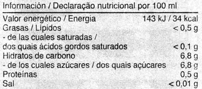 Fliederbeersaft - Información nutricional