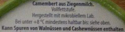 Ziegen-Camembert Classic Cremig & Extra Mild - Inhaltsstoffe