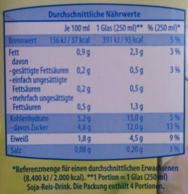 Soja-Reis-Drink - Informations nutritionnelles - de