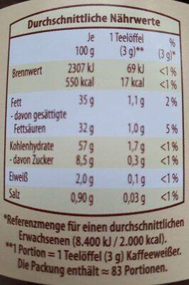 Kaffeweisser - Informations nutritionnelles - de