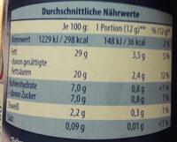 Sprühsahne - Informations nutritionnelles - de