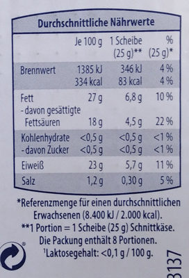 Kasländer Mild & Nussig - Nährwertangaben