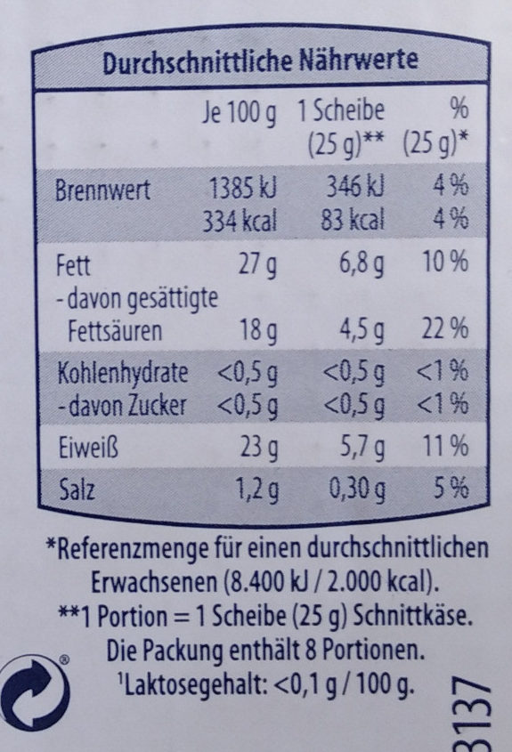 Kasländer Mild & Nussig - Informations nutritionnelles - de
