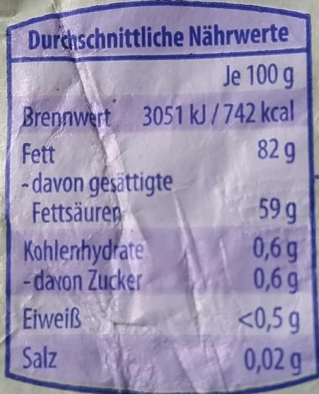 Gut Bio Butter, Sauerrahm - Nutrition facts