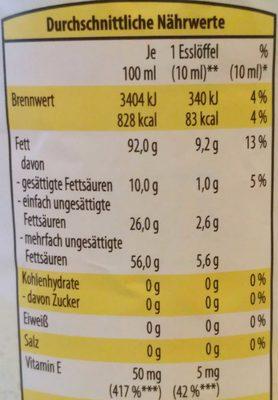 Reines Sonnenblumenöl - Nährwertangaben