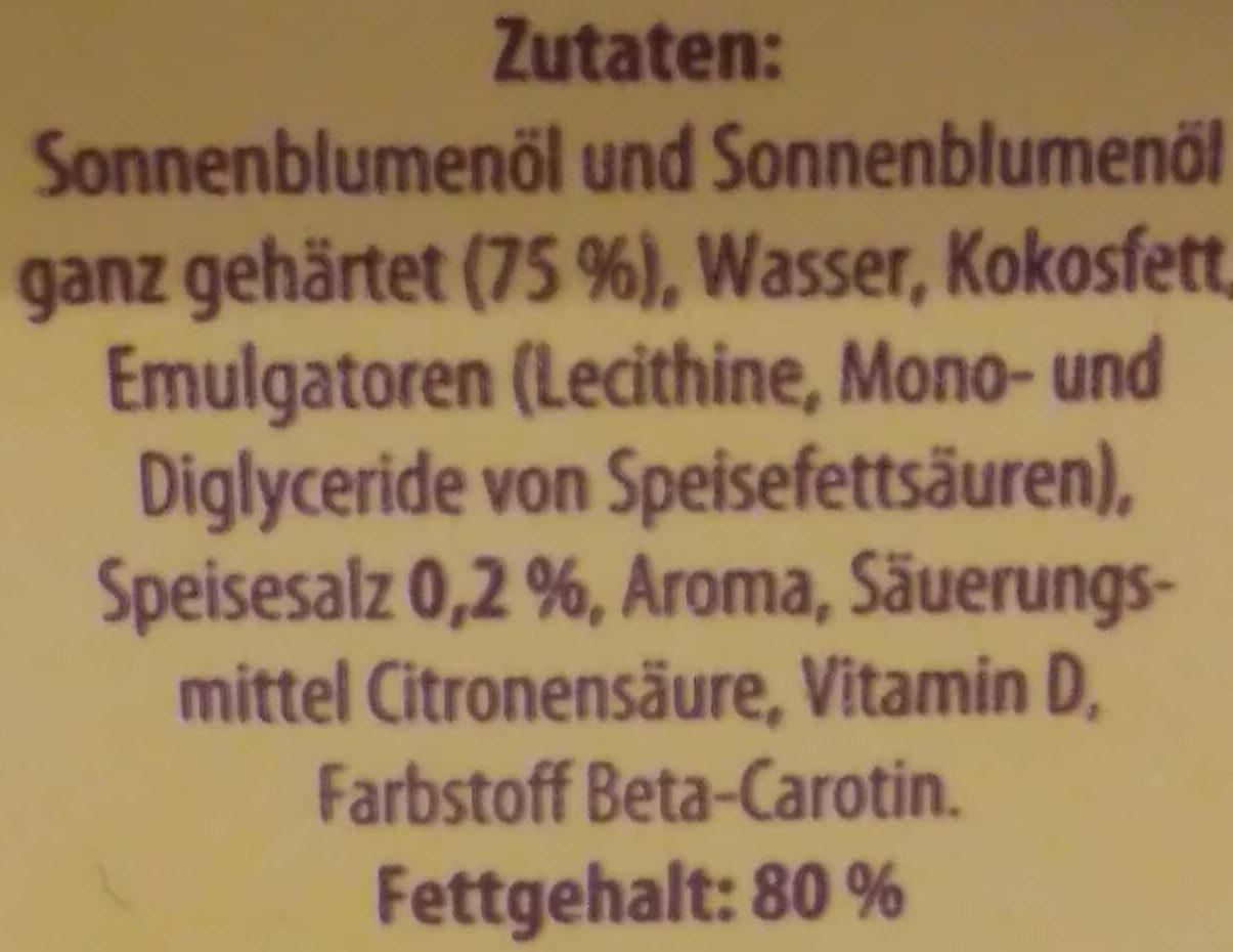 Sonnenblumen - Magarine - Ingrédients