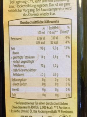 Gutbio Olivenöl Nativ Extra - Voedingswaarden - de