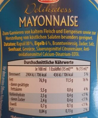 Mayonnaise - Informations nutritionnelles - xx