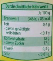 Apfelmus - Voedingswaarden - de