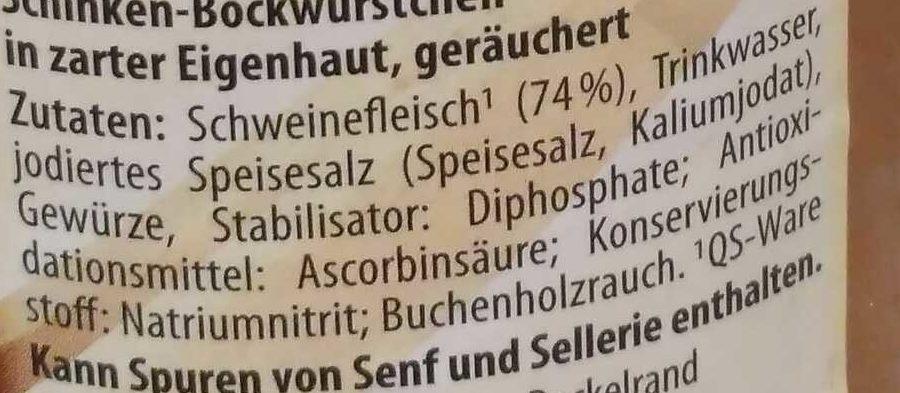 Schinken-Bockwürstchen - Ingredientes