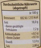 Schinken-Bockwürstchen - Información nutricional