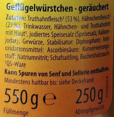 Geflügel würstchen - Ingrédients - de