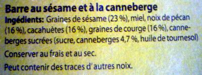 Barre au sésame et à la canneberge - Ingredients