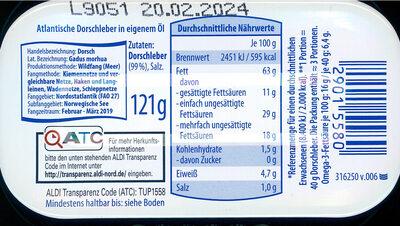 Dorschleber, Fisch - Nutrition facts - de
