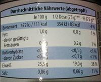 Thunfischfilets im eigenen Saft und Aufguss - Nährwertangaben - de