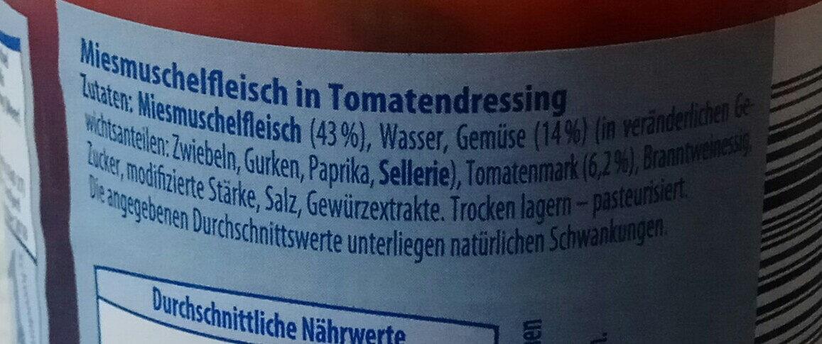 Limfjord Muscheln in Tomatendressing - Zutaten - de